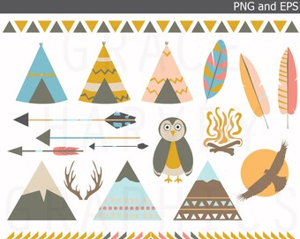 Tribal Teepee Mountain Owl Arrow Feather Clip Art EPS PNG, Instant Download Clip Art, Small Commercial Use