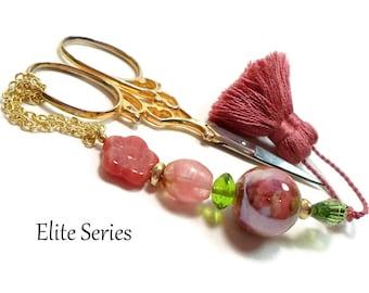 Rose Pink, Green, Scissor Fob, Quilting Accessory, Sewing, Cross Stitch, Needlepoint Fob, Handmade, Beaded, Scissor Minder, Scissor Keeper