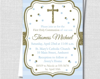 Blue and Gold Sparkle First Communion Invitation - Boy First Communion Celebration - Digital Design or Printed Invitations - FREE SHIPPING