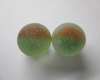 GENUINE SEA GLASS 12mm Marbles 2 Flawless Red Green White Cats Eye Real Surf Tumbled Natural Beach Seaglass Unaltered Undrilled Bead  U 748