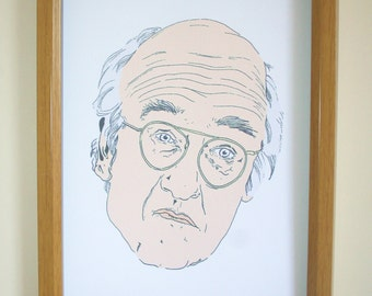 Larry David Print - Curb Your Enthusiasm Gift - Seinfeld fan - TV Series art - Comdian fan - Larry David Portrait -  TV Art Print -