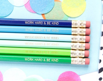Work Hard and Be Kind Pencils, Blue/Green Pencils, Set of 6 Hex Pencils, Gold Foil Pencils, Imprint Pencils, Stocking Stuffer, TED003-PNCL