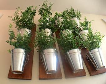 Indoor Wall Planter -wood grain (one row of 3 pots)