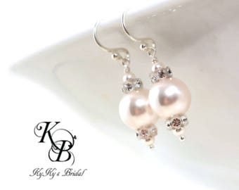Pearl Bridal Earrings ~ Swarovski Pearl Earrings ~ Wedding Jewelry ~ Pearl and Crystal Earrings ~ Bride Jewelry ~ Sterling Silver Earrings
