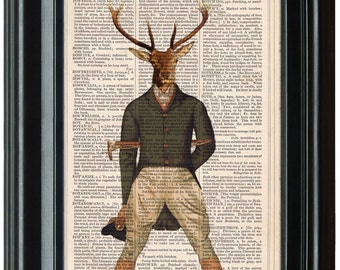 Deer Art PRINT, Vanity Fair Deer, Deer Art Print, Deer Prints, Cute Stag Print, Cool Stag Print, Deer Artwork,  Vintage Deer Print