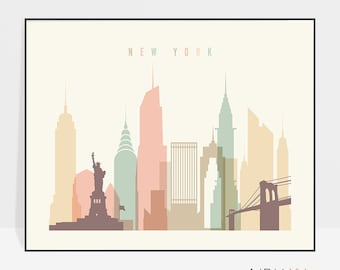 New York print, Poster, Wall art, Cityscape, New York skyline, City poster, Typography art, Gift, Home Decor, Digital Print, ArtPrintsVicky.