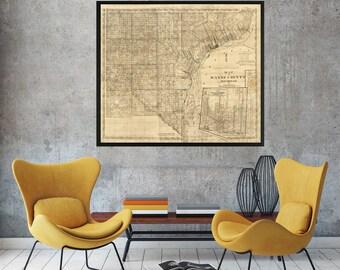 Detroit Map - Map of Detroit - Vintage Detroit Map - Michigan Map - Detroit Michigan - Antique Detroit Map - Detroit Street Map-Detroit City