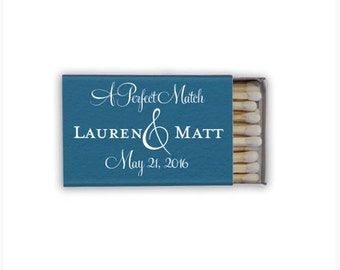 """50 """"A Perfect Match"""" Personalized Matches - 1.20 each, Foil Printed Matchboxes, Personalized Wedding Favors, Personalized Favor Matches"""