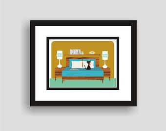 Clementine 3 - Mid Century Modern Art Original Print by C Wiedenheft  comes with a white mat and ready to frame.