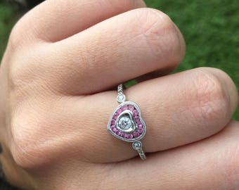 FLASH SALE! Pink Sapphire and Diamond Heart ring