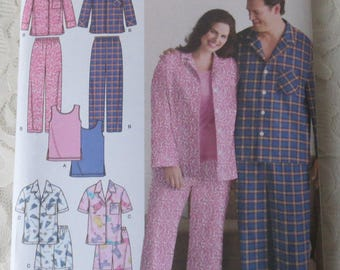 Simplicity 3971 Sewing Pattern Pajamas For Men and Women Size BB XL - XXXL