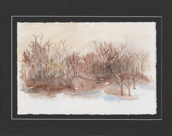 """ORIGINAL Watercolor Landscape Painting   """"Country Get Away""""  with Floating Mat Mounting ... 11"""" x 14"""""""