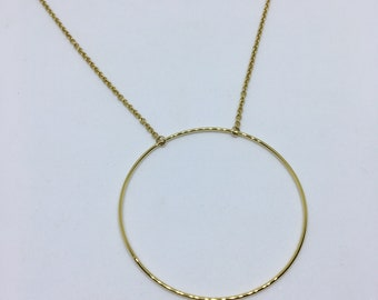 NECKLACE circle large plated gold