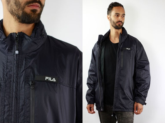 Fila Jacket Black Fila 90s Jacket Fila Windbreaker Fila Shell Jacket Vintage Fila Windbreaker 90s Fila Windbreaker Vintage Windbreaker Fila