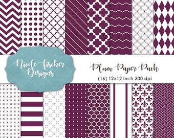 Plum Patterned Paper Pack -INSTANT DOWNLOAD