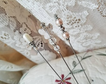 Victorian Antique Inspired Hat Pins, Teardrop Pearl, Faceted Crystal Butterfly & Filigree Silver, Scarf Pins. DISPLAY or USE!