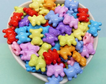 25 x Gummy Bears acrylique perles 15mm 12mm couleurs vives