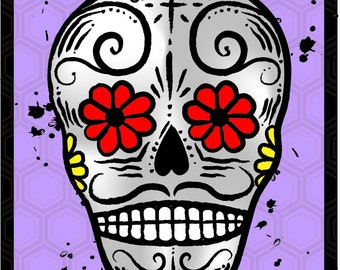 Day of the Dead refrigerator Magnet PURPLE