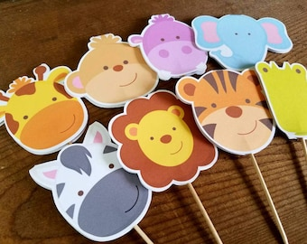 Jungle Friends Party - Double Sided Assorted Jungle Animal Cupcake Toppers by The Birthday House
