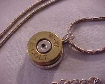 45 Colt Bullet Pendant Necklace