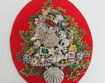 Costume Jewelry Christmas Tree Hanging Art Rhinestone Repurposed Upcycled