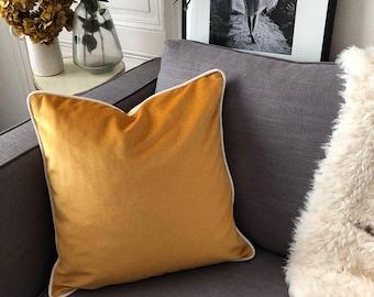 Mustard Velvet pillow - square