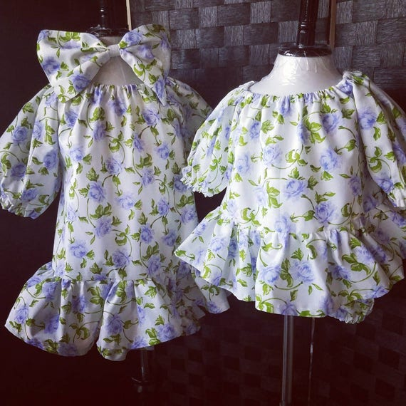 Bloomers Dress Set, Country Dress, Vintage Floral Dress, Sister Dresses, Dropped Waist Dress, Matching Dress, Baby Matching Set
