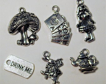 Alice in Wonderland Inspired Charm Collection  6pc  C137