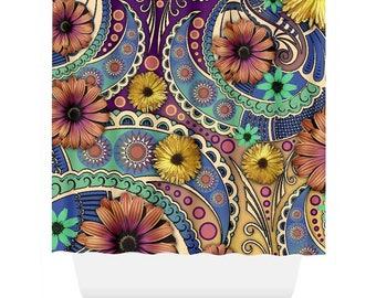 Colorful Paisley Shower Curtain - Daisy Floral Curtain - Bathroom Decor - Petals and Paisley Art by Artist Christopher Beikmann
