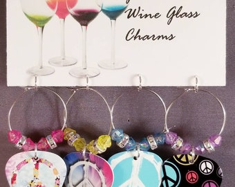 """Guitar Pick Wine Glass Charms """"Peace Signs"""""""
