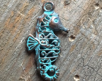 Greek Copper Patina Sea Horse Charm, Jewelry Making, DIY Craft Supplies