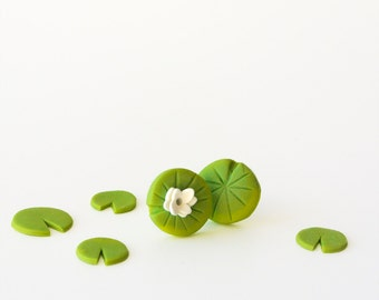 Water Lily post earrings - Pond life - green white lily pad - fun nature jewelry - Spring collection - Mismatched jewelry