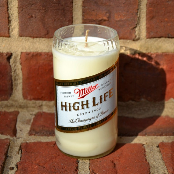 Upcycled Miller High Life Beer Bottle Candle Made from Soy Wax