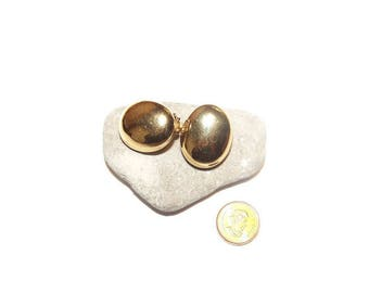 Vintage Carolee Goldtone Large Oval Button Clip Earrings, Designer Clip earrings, Carolee earrings