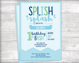Splish Splash Birthday Bash Pool Party Invitation Printable