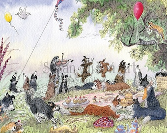 Border Collie dog 8x10 Susan Alison art print from watercolor painting sheepdog having a picnic playing the fiddle dancing romantic couple