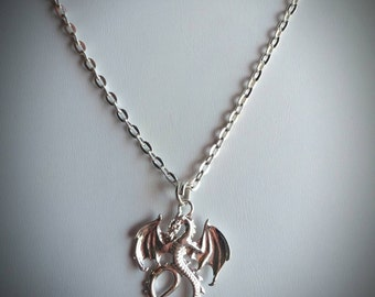 Flying Dragon Necklace - Silver tone charm