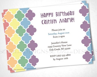 Moroccan Tile Birthday Invitation - Rainbow - DIY Printable