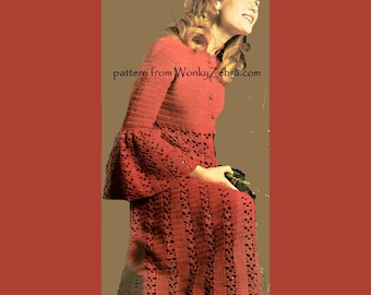 Vintage Red Gown Crochet Pattern PDF 772 from WonkyZebra