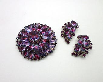 Vintage Set  Rhinestone Pin Brooch and Clip On Earrings Pin Gift Wrapped