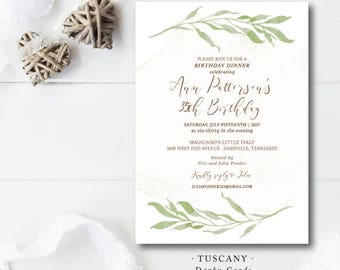 Tuscany Printed Party Invitations | Party or Shower | Printed or Printable by Darby Cards