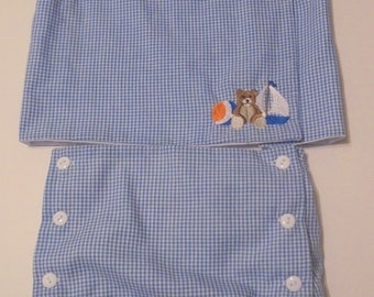 Boy Infant Embroidered Shirt with Diaper Cover Set-Teddy Bear-Boat-Ball-sizes NB-3M-6M