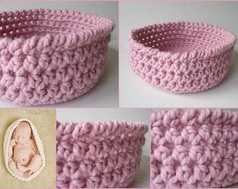 Pink Newborn Baby Bowl, Pink Nesting Bowl, Baby Pod, Baby Cocoon, Crochet Newborn Bowl,  New Born Photo Props, Newborn Photography