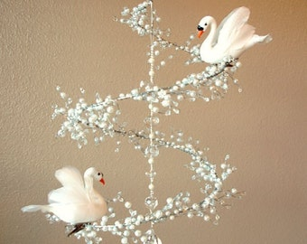Swan Song - Crystal and Pearl Mobile Chandelier with Perched Swan Birds (Limited Edition)