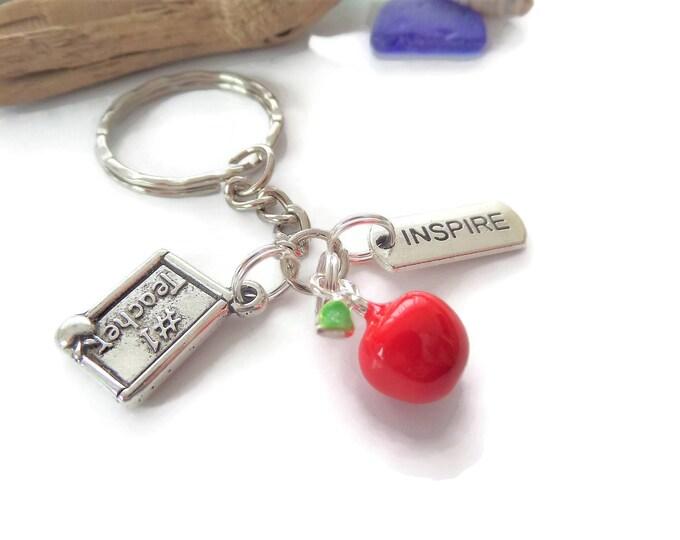 Teacher themed gift, thank you teacher, red apple gift, best teacher, thank you gift, teacher keyring, no 1 teacher, inspire gift,