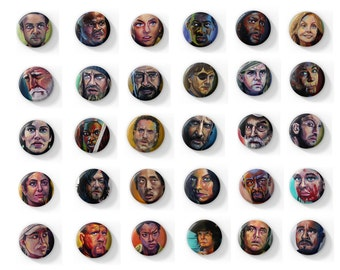 The Ultimate Set of (30) Walking Dead Fan Art Button Magnets or Pins of Illustrations by Jess Kristen
