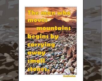 Mountain Print Stones decor printable, Quote Confucius Wall hanging Printable, Move Mountains inspirational Wall Art, photography, sayings