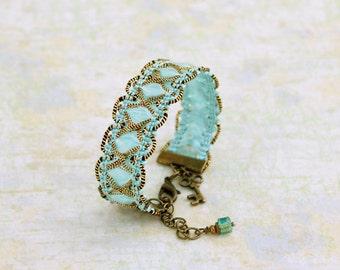 Blue trim bracelet  - Sky blue ribbon bracelet with gold and brass accents - Blue Bracelet -  Ribbon Jewelry