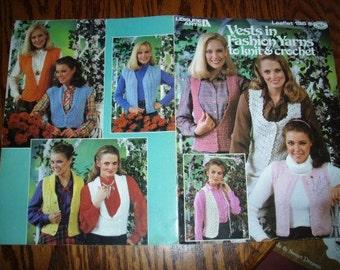 vintage crochet knit patterns ...  LEISUREARTS VESTS in FASHION yarns leaflet pattern ...