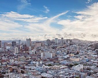 San Francisco Print, California Urban Decor, Clouds, City by the Bay, SF Photography, San Francisco Photography, Coit Tower SF
